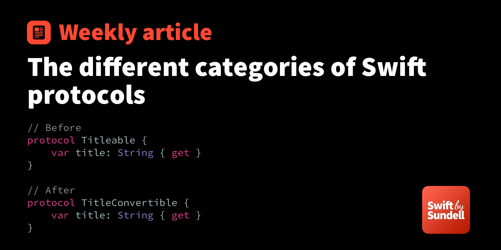 The different categories of Swift protocols