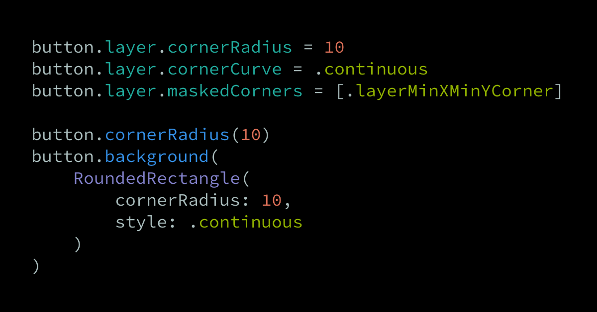 Applying rounded corners to a UIKit or SwiftUI view