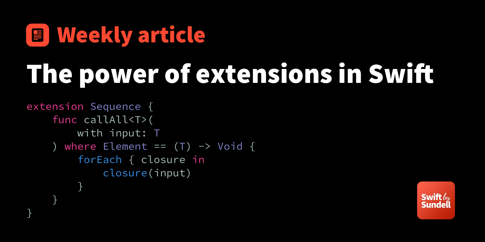 The power of extensions in Swift | Swift by Sundell