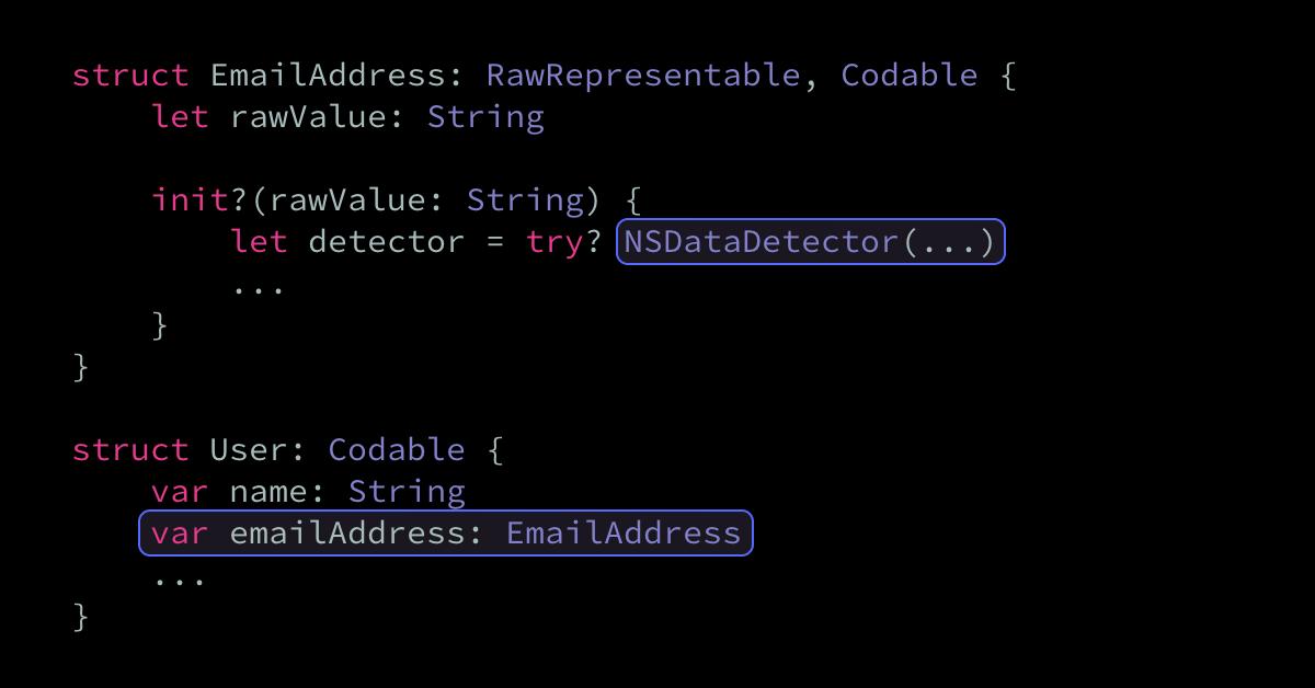 Validating email addresses using RawRepresentable and NSDataDetector