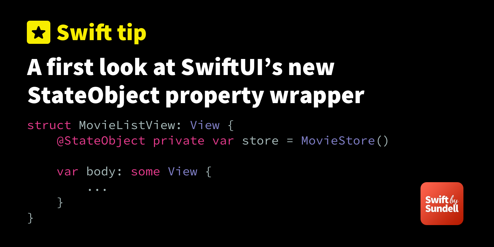 Tip: A first look at SwiftUI's new StateObject property wrapper