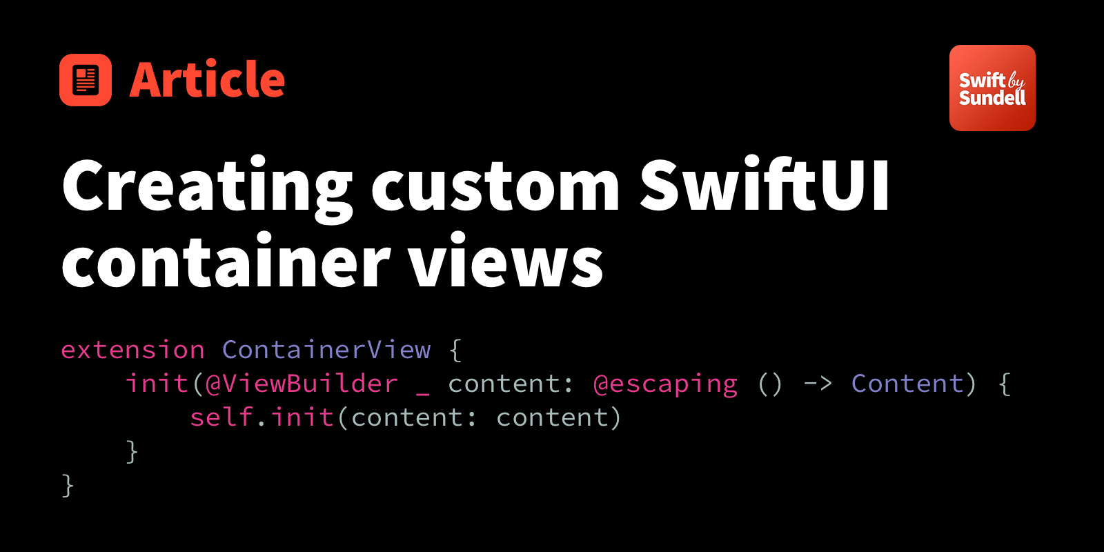 Creating custom SwiftUI container views