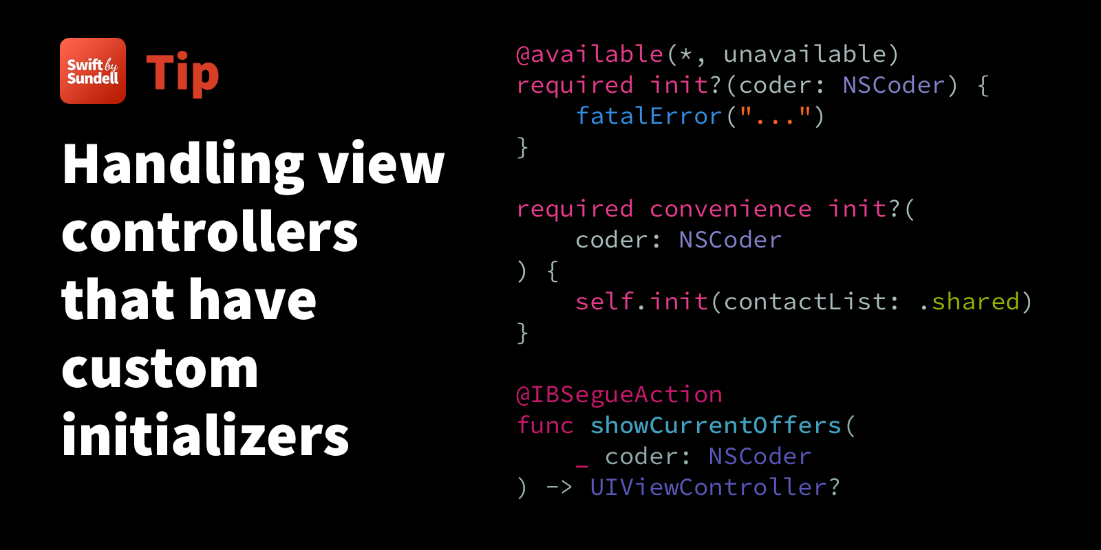Handling view controllers that have custom initializers