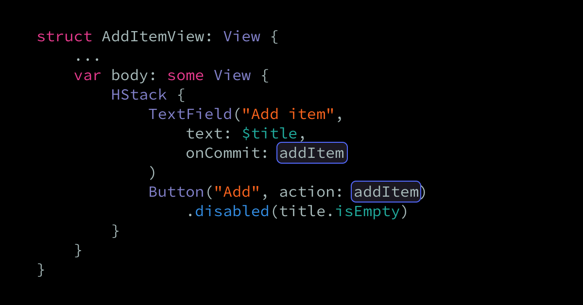 Passing methods as SwiftUI view actions